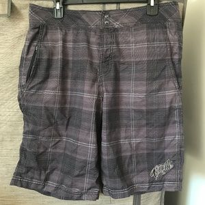 O'Neill men's black/gray plaid hybrid shorts sz 33